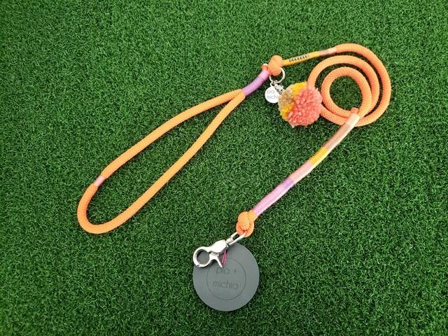 ドッグリード/ロープ/オレンジ/ボンボン【パッションな印象をくれるオレンジ。首輪に着けてお散歩にお出かけすればどんな毛色にも映えキレイに彩りを添えることが出来ます!】【ハワイのデザイナーによる手づくり】【一点物】【オリジナル】【ハワイ】