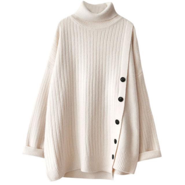 ルーズシルエット ボタン セーター【R0381】