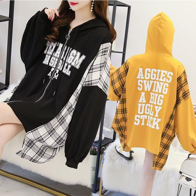 ドッキングトップス ジップアップ パーカー + ネルシャツ チェック柄 薄手 不規則デザイン ゆったり 韓国ファッション レディース ガーリー カジュアル / Light print sweatshirts Irregular plaid shirt tops (DTC-612785449184)
