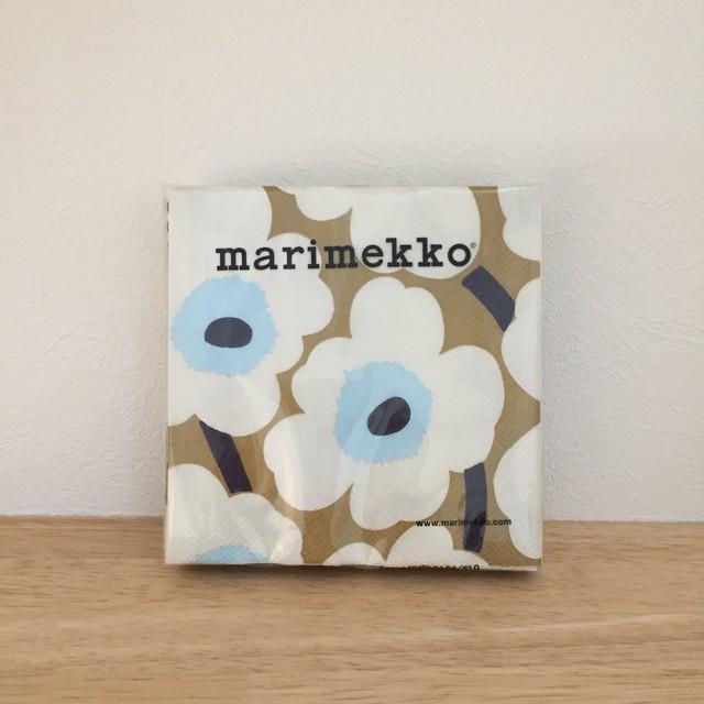 【marimekko】カクテルサイズ ペーパーナプキン UNIKKO ゴールド×クリーム