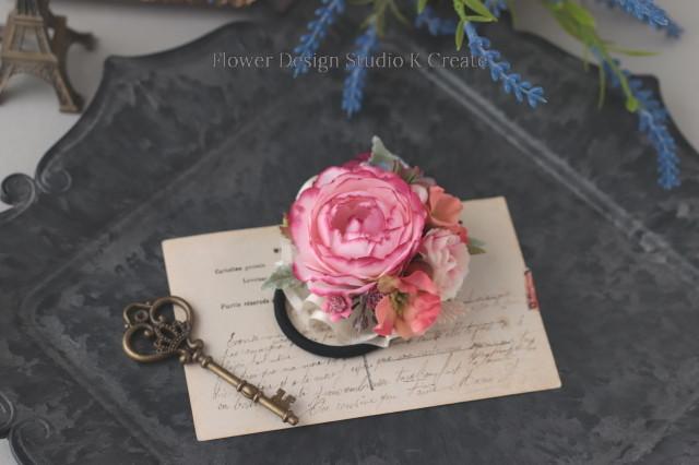 オレンジの小花とピンクローズのヘアゴム お花 ヘアゴム 髪飾り お出掛け ヘアアクセサリー