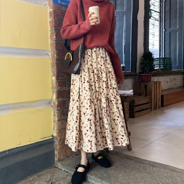 小花柄のレトロなロングスカート【FS1782】