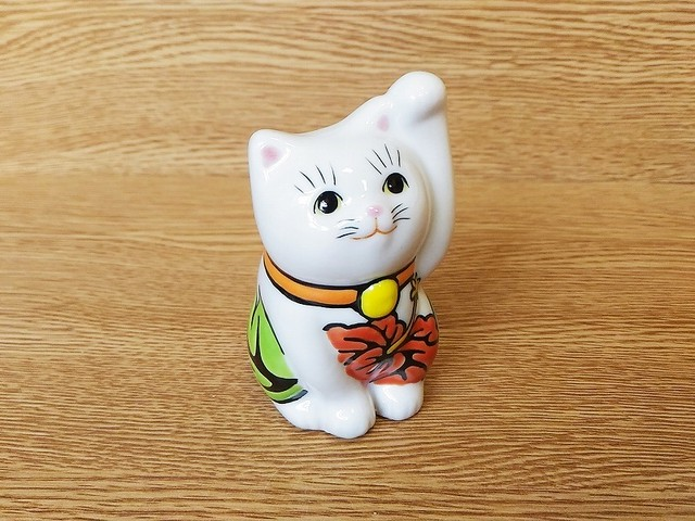 招き猫2.8寸 ハイビスカス