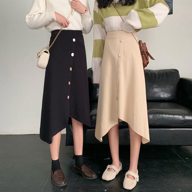 韓国ファッション ハイウェスト 膝丈スカート SHQ352601