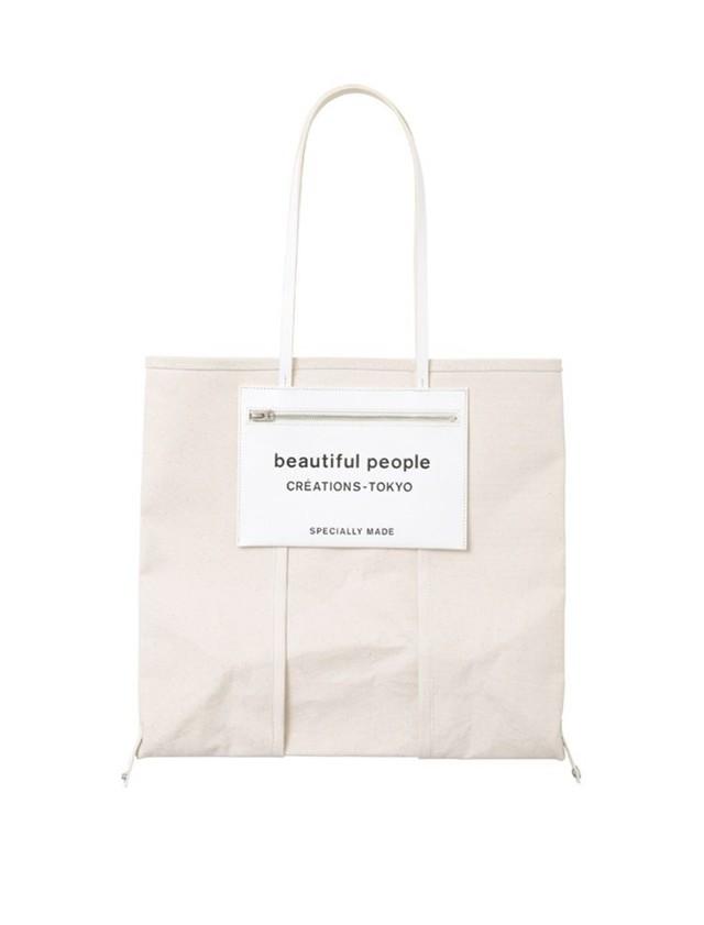 【beautiful people】《21SS》ライニングロゴポケットトートバッグ 1125611968