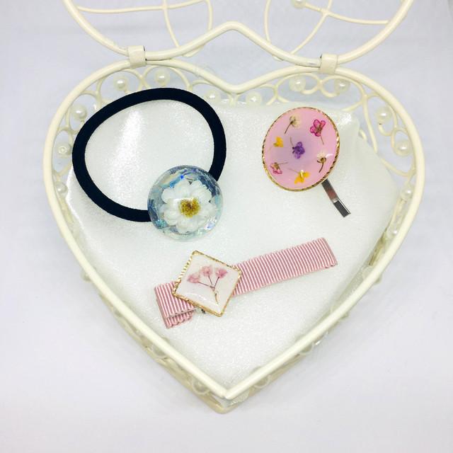 【送料無料】【ヘアアクセサリーセット☆ヘアクリップ・ピンク】