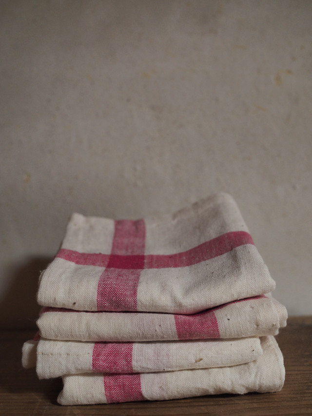 red cross  handkerchief -hand span handloom