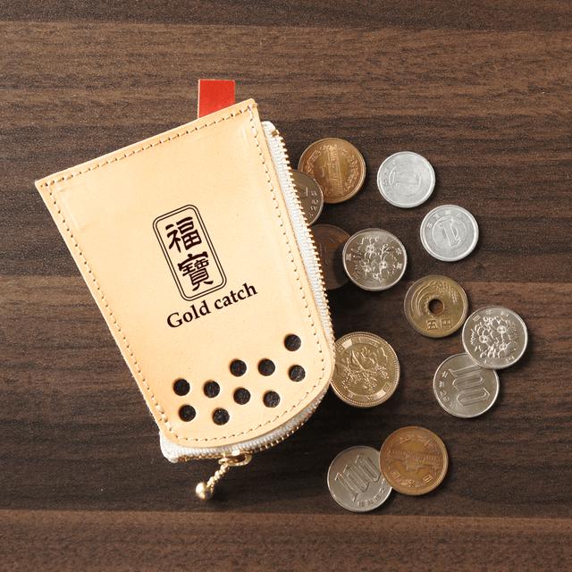 タピオカグッズ★本革コインケース【小銭入れ】福宝柄