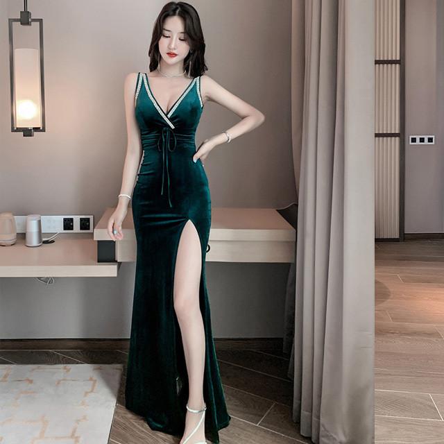 高級 二次会 売れっ子 指名 柔らかい ロングドレス えちえち キャバドレス F2-20289