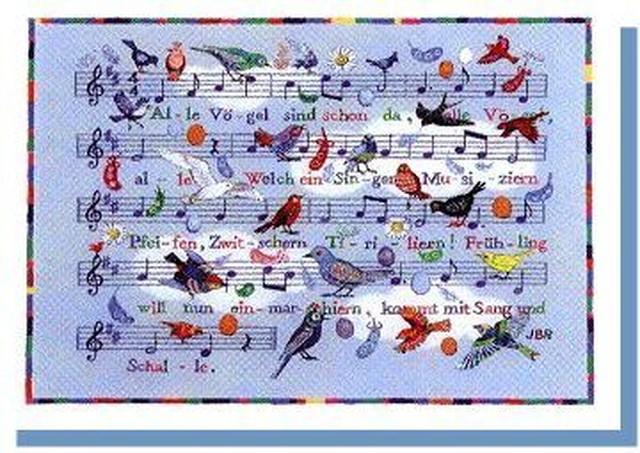 霞か雲か 小鳥たちがやって来た  グリーティングカード