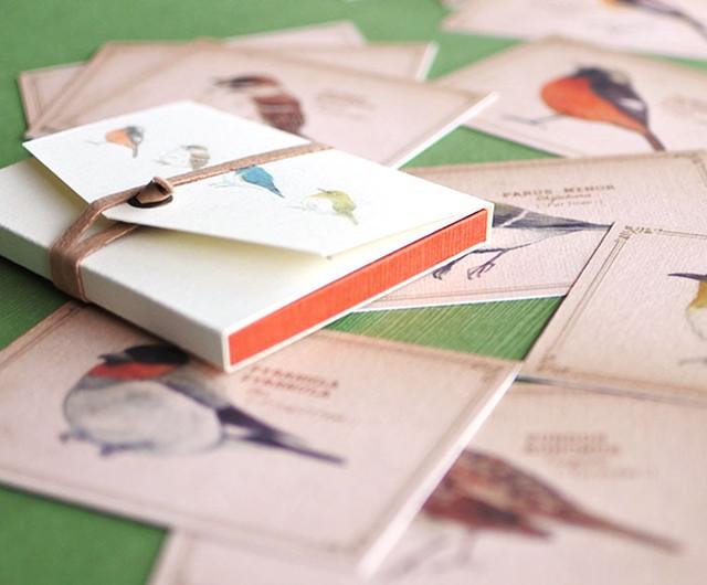 ちょっと大きめ*野鳥たちのメッセージカード(専用ケース付き)