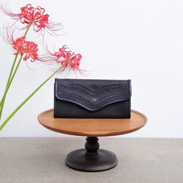 Yammart(ヤマート) / 刺繍ロングウォレット stitch-long-wallet/blue or black