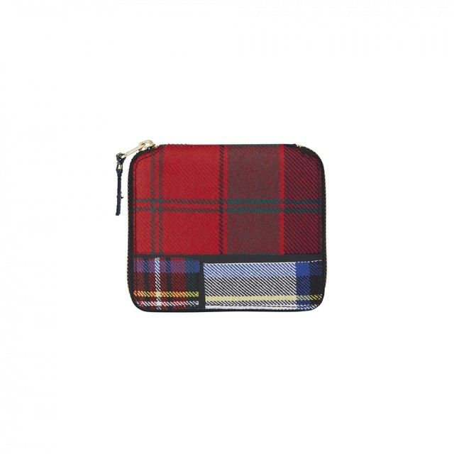 WALLET COMME des GARCONS【ウォレットコムデギャルソン】Tartan Patchwork Round Wallet (RED)