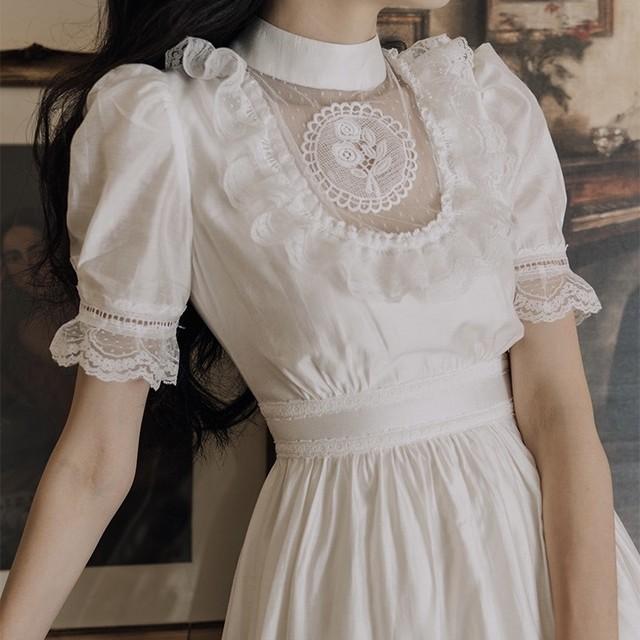 décolleté sheer cameo dress