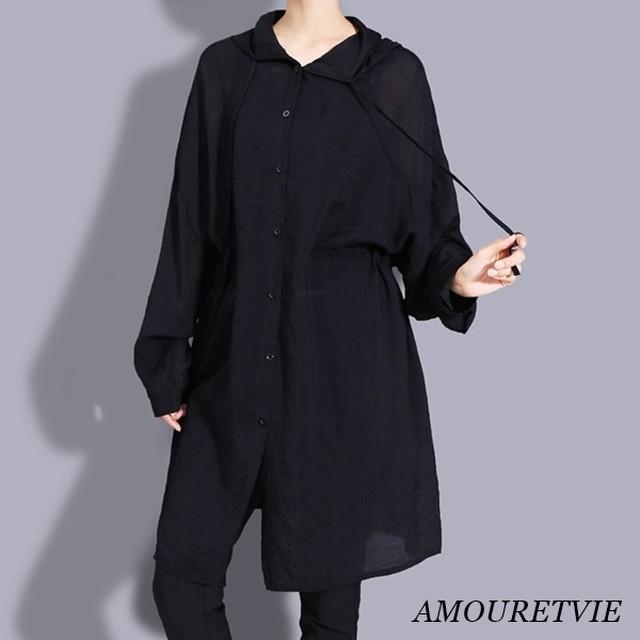 シャツ ブラウス ロングシャツ アウター ブルゾン シースルー ブラック ホワイト モード 2144