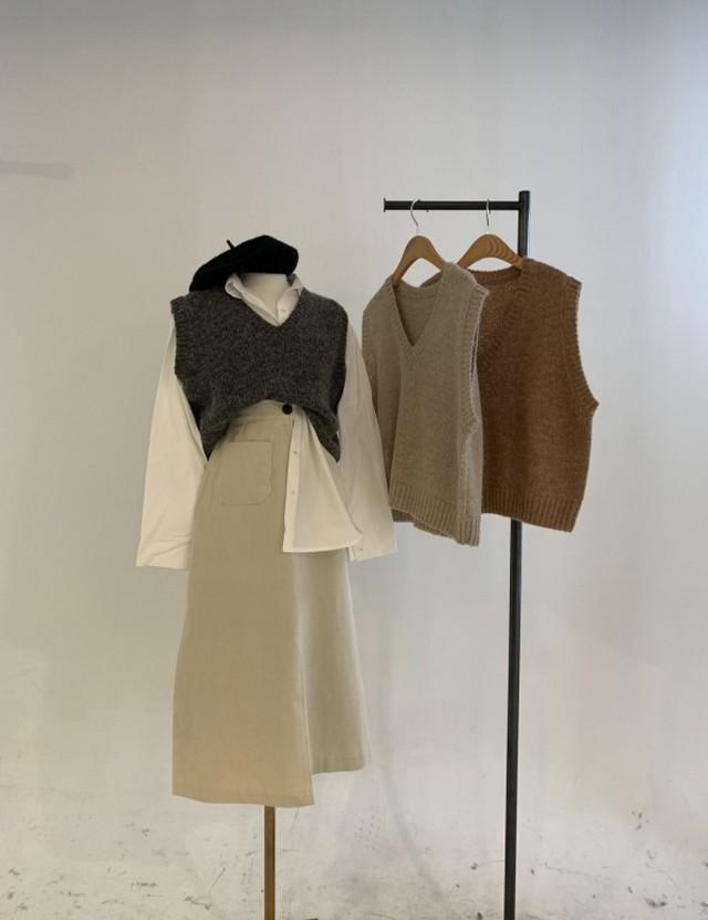 アルパカニットベスト ニットベスト ベスト 韓国ファッション