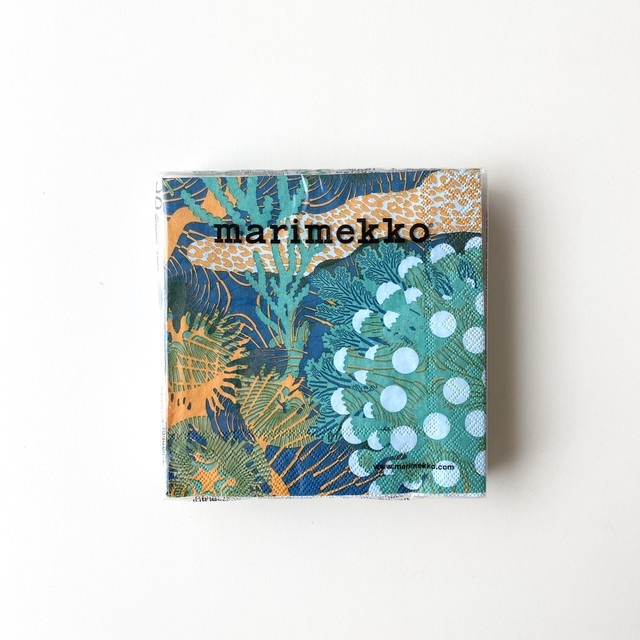 【marimekko】カクテルサイズ ペーパーナプキン MERIVUOKKO グリーン