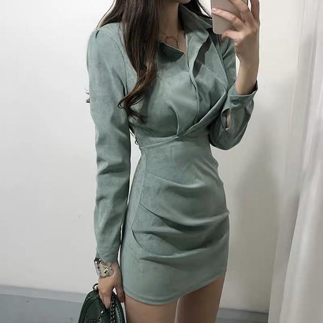 【dress】華奢見え清新ファッション切り替え膝丈スリムセクシーワンピース