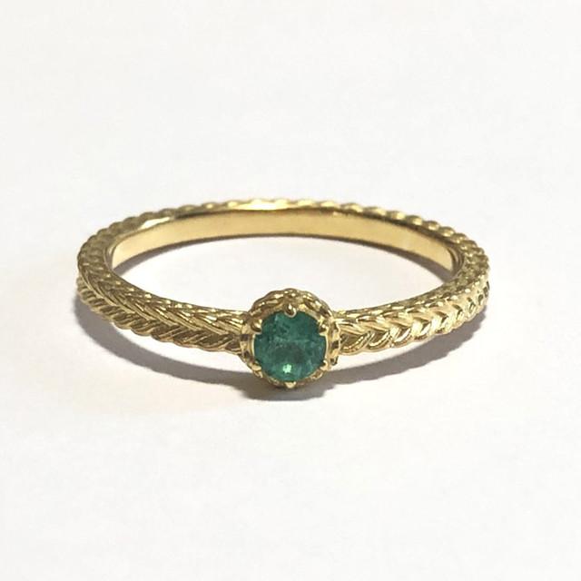 【受注生産】誕生石リング5月 エメラルド birthstone ring 5 emerald