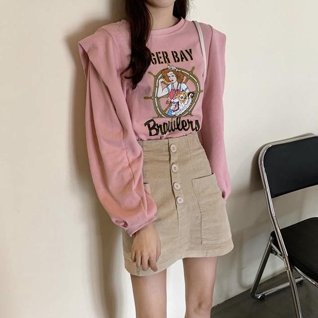 デザイン プリント 長袖 Tシャツ 2色 B2744