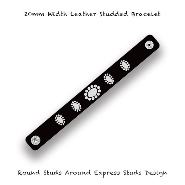 20mm Width Leather Studded Bracelet / Round Studs Around Express Studs Design 001