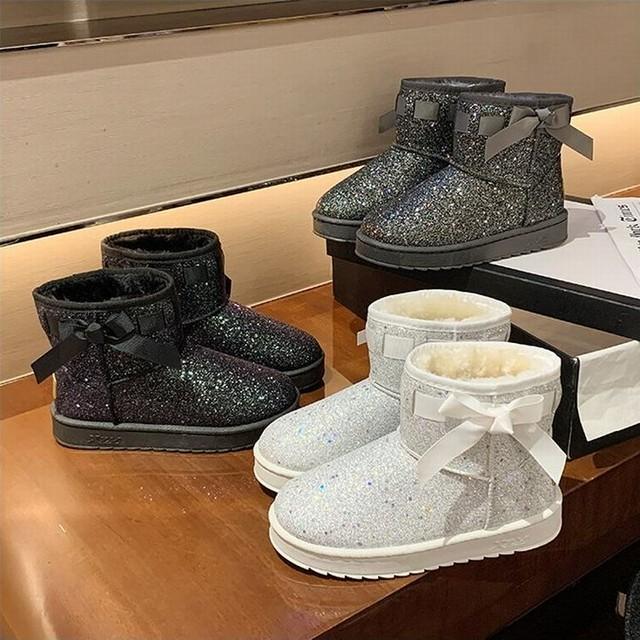 スパンコール ムートンブーツ キラキラ 23.0〜25.0cm ファーブーツ 韓国ファッション レディース ファーブーツ ショート丈 防寒 もこもこ ガーリー / Warm cotton short boots with sequined velvet (630965976105)