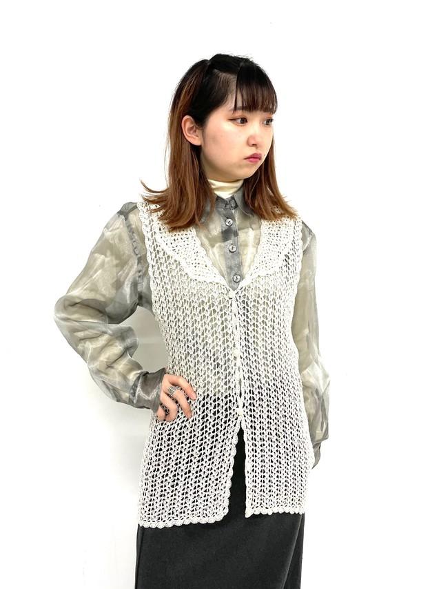natural crochet vest / 3SSTP11-12