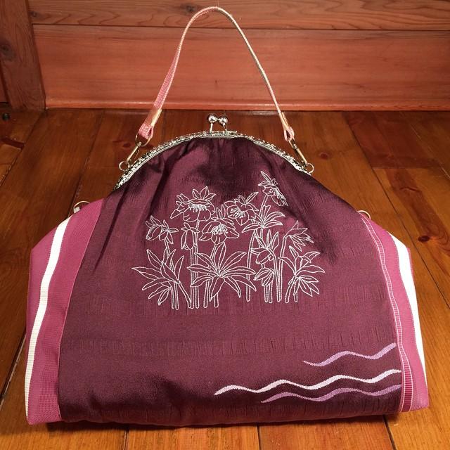 帯と刺繍のがま口バッグM『クリスマスローズ』
