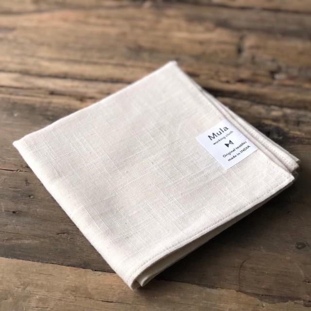 Mula:working cloth ハンカチ スラブコットン ナチュラル