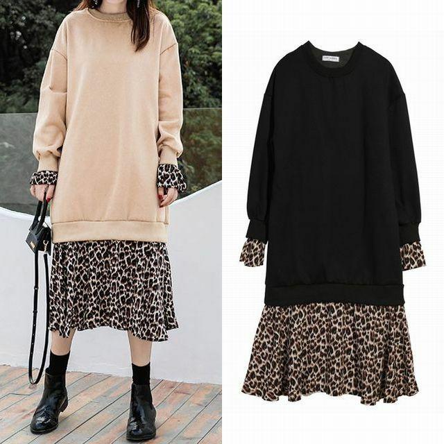 レディース レオパード フリルポイント ドッキングワンピース ロング丈 / Chic Thin Plus Velvet Sweater Skirt Leopard Stitching Two Long Sleeve Dresses (DCT-581221757538)