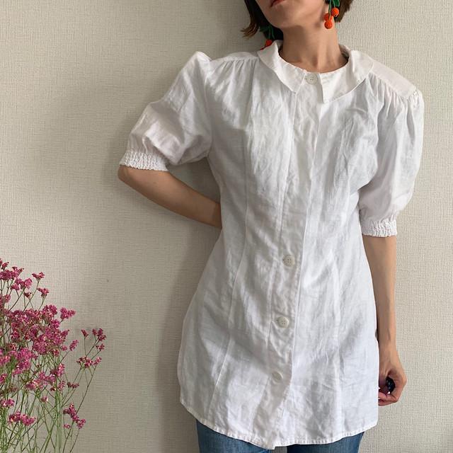 80's vintage white linen blouse short puffy sleeve