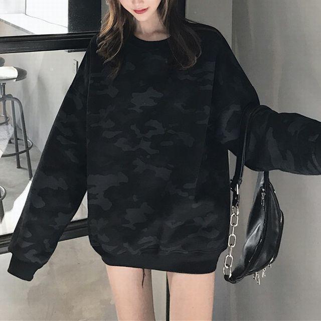 カモフラージュ スウェット トレーナー レディース 長袖 スエット トップス 迷彩柄 黒 ブラック / Black camouflage letter print plus velvet pullover sweater (DCT-576941720256_7)
