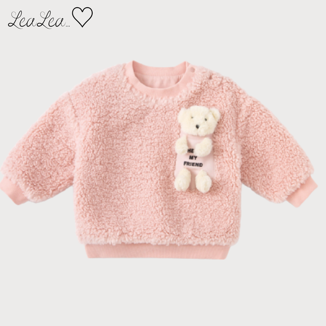 dave&bella2021AW新作♡くまちゃん人形付きもこもこ素材トップス(73cm-140cm)| LeaLea...♡(レアレア)-海外の子供服セレクトショップ