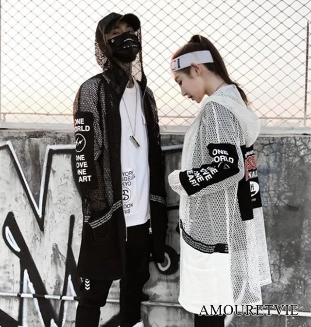 カーディガン スタイリッシュ メッシュ ユニセックス 黒 ブラック 白 ホワイト フード付き ロング 原宿系 裏原宿系 ピープス オルチャン 韓国ファッション 1431