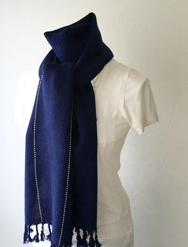 """【ベビーアルパカ:秋冬】ユニセックス手織りマフラー """"Deep Blue"""""""