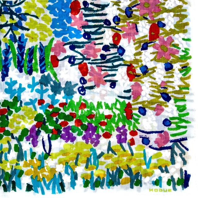 ひびのこづえ ハンカチ kadan / ホワイト 大判 26色刷り 手捺染 縁取り刺繍 58x58cm KH19-03