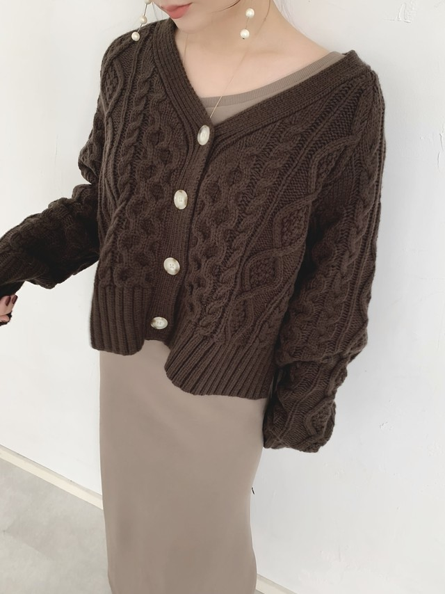 bulky cable knit cardigan / brown (即納)