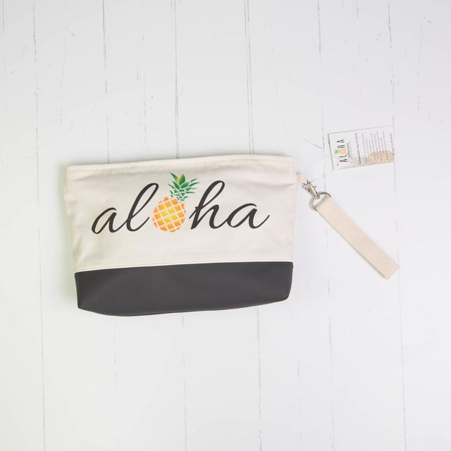 クラッチバッグ (防水裏地付き)下部レザー Aloha Pineapple Script