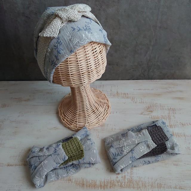 おりょうりしよう。たーばん 水色植物刺繍柄/cha 【Mサイズ】