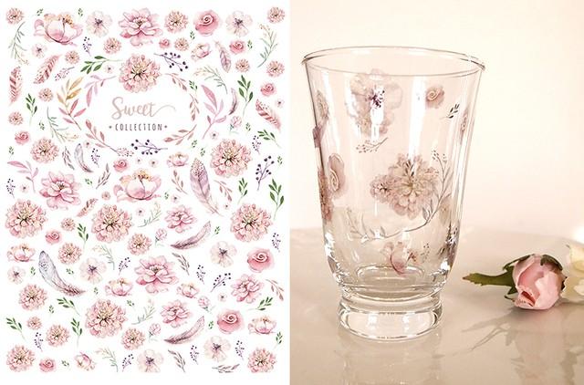 ガラス用 水彩 SWEET FLOWER スイートフラワー♪ A4サイズ(ポーセラーツ花転写紙)