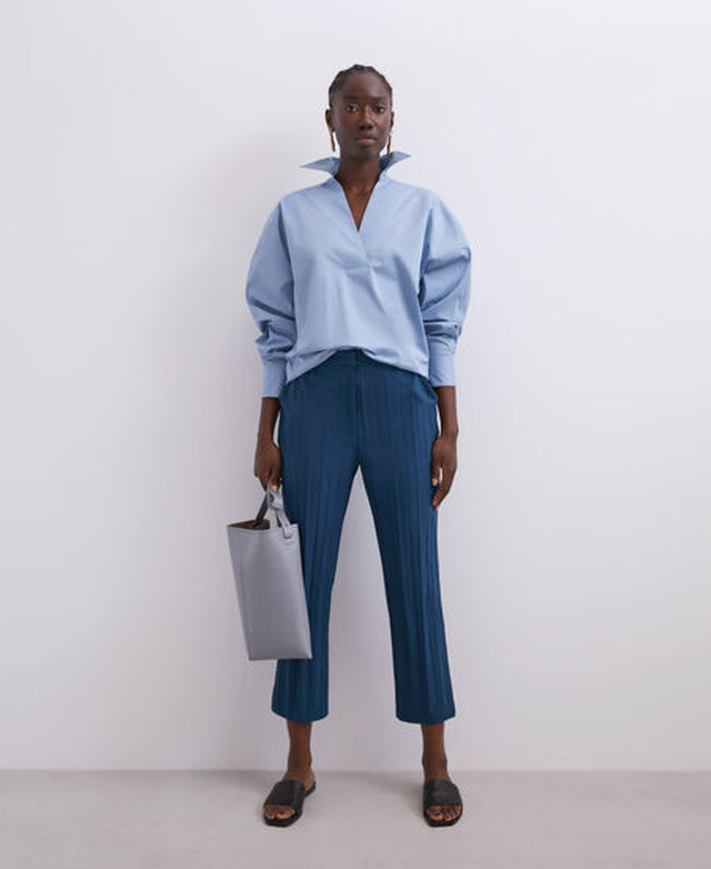 STRAIGHT CUT CRINKLE TROUSERS [268051582111]
