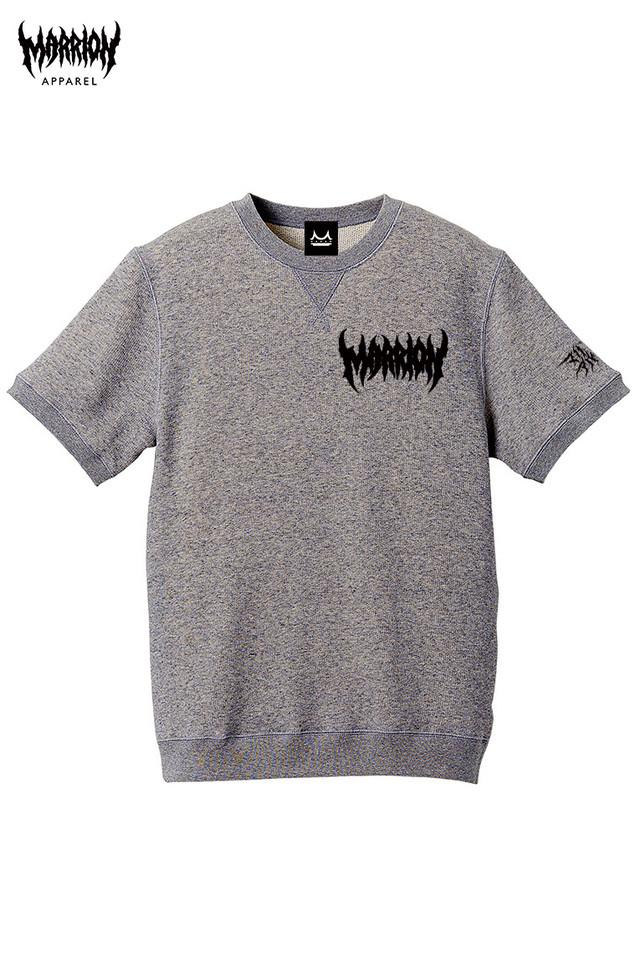 【モコモコロゴ】Death Marrion Logo Short Sleeved Sweatshirt (Glay×Black)