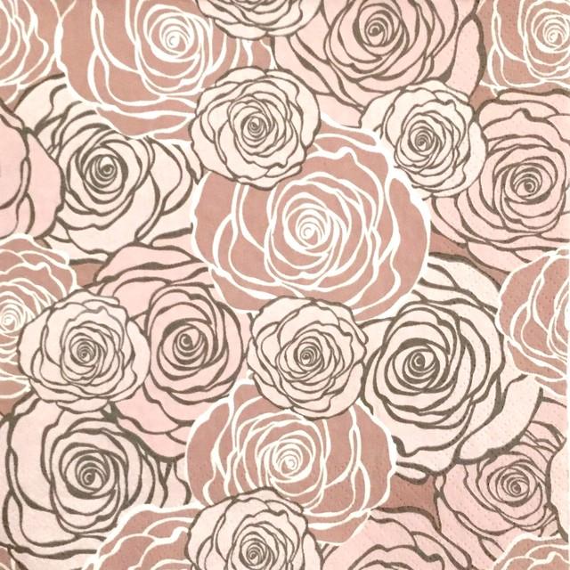 【Maki】バラ売り2枚 ランチサイズ ペーパーナプキン GRAPHIC ROSES パールピンク