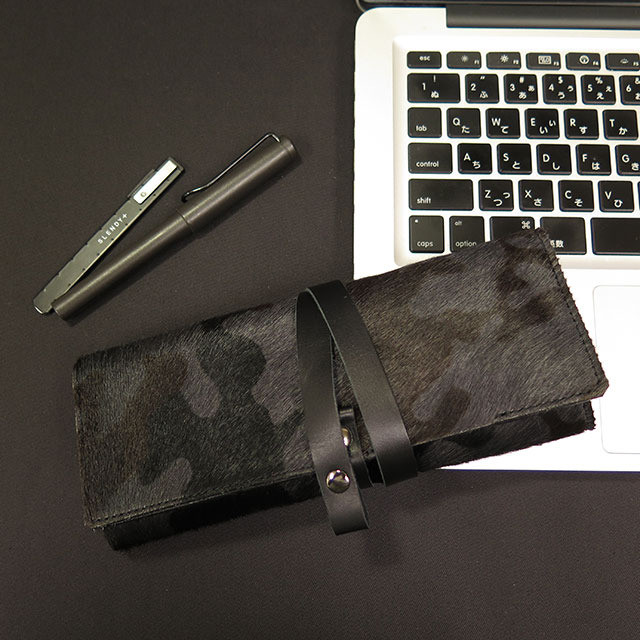 Roll Pen Case -Italy cow fur Leather-