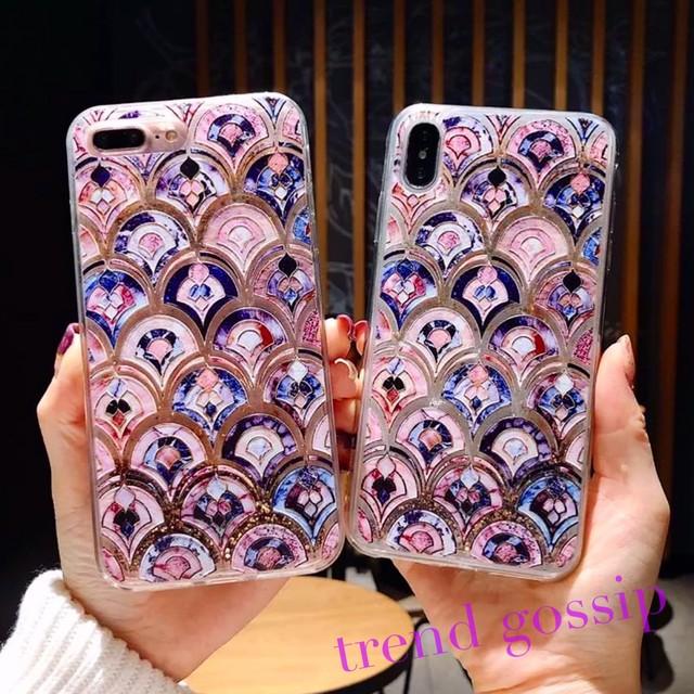 【送料無料】エスニックスケイルグリッタースマホケース/iPhone6〜iPhone11/2020SS