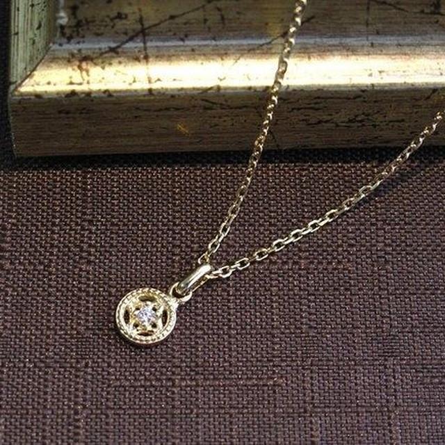 ハートのサークルモチーフネックレス ダイヤモンド / k10YG
