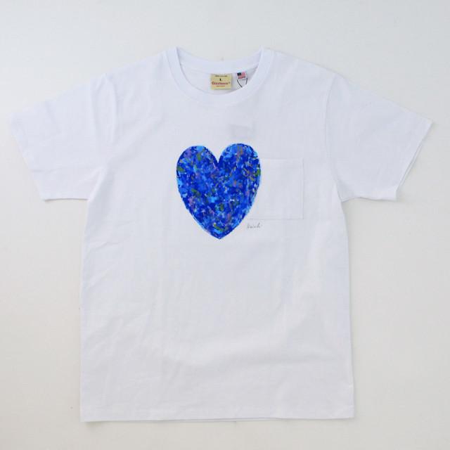 西村公一「ハートTシャツ/ホワイト&ブルー」(Lサイズ)