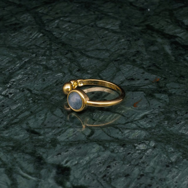 SINGLE MINI STONE OPEN RING GOLD 005