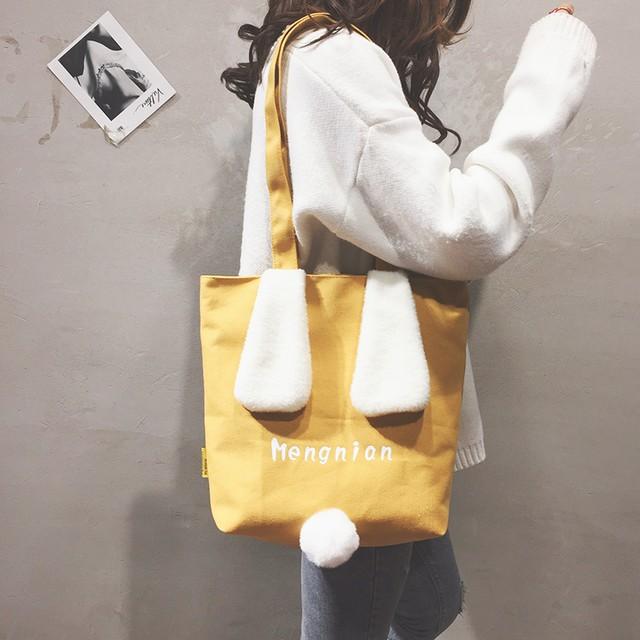 【小物】帆布配色アルファベットキュートショルダーバッグ
