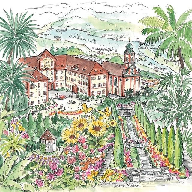 【Ambiente】バラ売り2枚 ランチサイズ ペーパーナプキン Insel Mainau グリーン